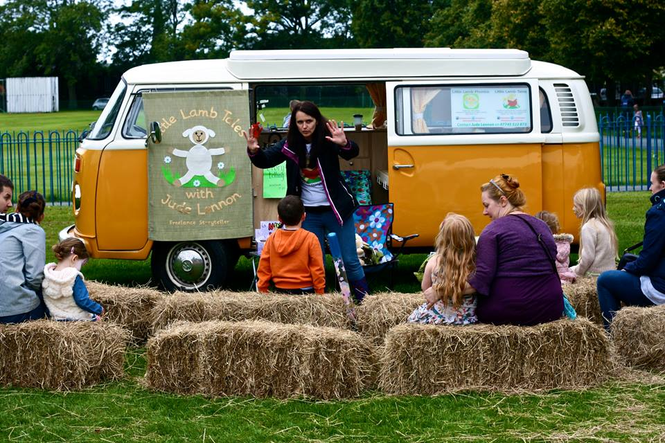Storytelling at events and festivals with Little Lamb Tales, Buttercup the van and Lamby